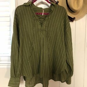 Free People Green Striped Lace Up Tunic Blouse